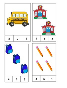 Back to School Theme Count and Clip Cards! #1-19