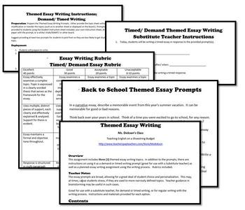 Back to School Theme Essay Writing, w Rubrics & Printables