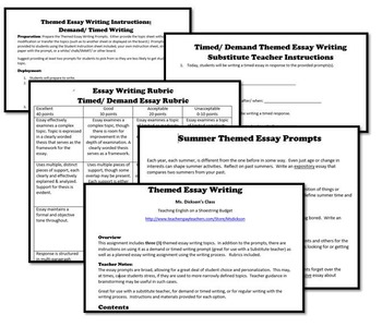 Summer Themed Essay Writing, w Rubrics & Printables