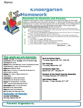 Back to School Theme Homework Cover Editable