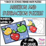 Back to School Themed Addition and Subtraction Math Puzzle