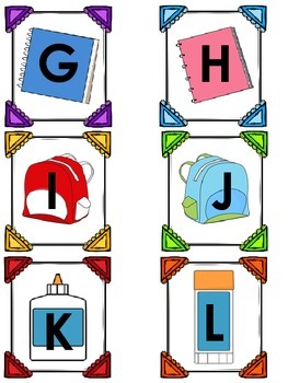 Back to School Themed Alphabet Match