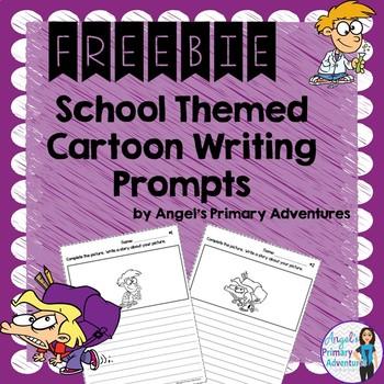 Back to School Themed Cartoon Writing Prompts Freebie