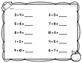 Back to School Themed Differentiated Addition Worksheets