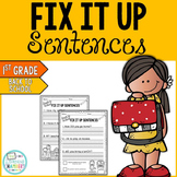 Back to School Editing Sentences: First Grade, Capitalization, Punctuation