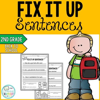 Back to School Editing Sentences: Second Grade, Capitaliza