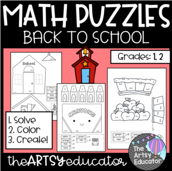Back to School Themed Math Puzzles - Color by Sum