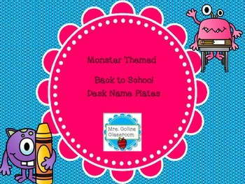 Back to School Themed Monster Name Plates