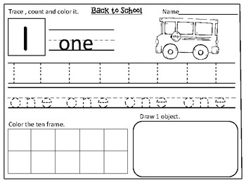 Back to School Themed Number Practice Pages (1- 20):