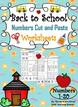 Back to School Themed Numbers Cut and Paste Worksheets (1-20):