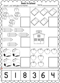 back to school themed numbers cut and paste worksheets 1 20 tpt. Black Bedroom Furniture Sets. Home Design Ideas
