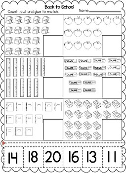 Back to School Themed Numbers Cut and Paste Worksheets (1 ...