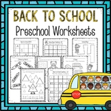 Preschool Worksheets-Back to School