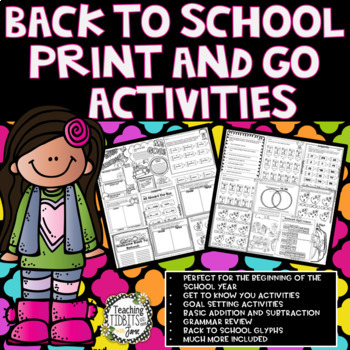 Back to School Activities, Back to School Math, Back to School Reading