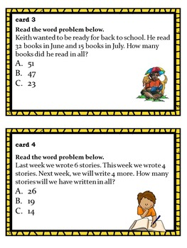 Back to School Themed Reading Problems Task Cards: Adding