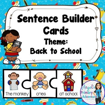 Back to School Themed Sentence Builder Cards
