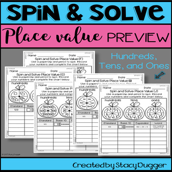 Back to School Spin and Solve Math Practice ~ Place Value