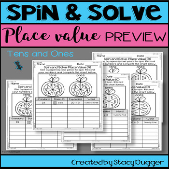 Back to School Spin and Solve Place Value Math Practice