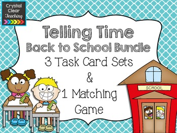 Back to School Themed Telling Time to the Hour and Half Hour Bundle
