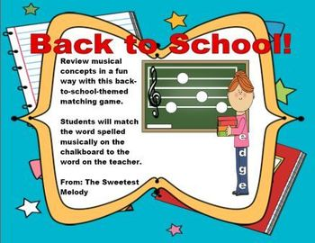 """""""Back to School""""-Themed Treble Clef Game"""