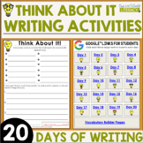 Back to School Think About It Writing Activities - Distance Learning Ready!