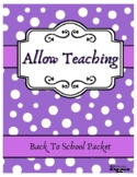 Back to School Third Grade Packet