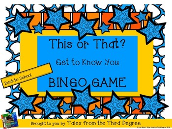 Back to School This or That? Bingo