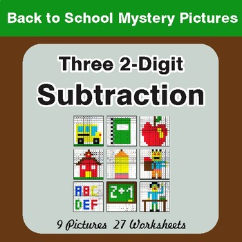 Back to School: Three 2-Digit Subtraction - Color-By-Number Math Mystery Pictures