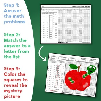 Back to School Three Digit Subtraction Mystery Pictures