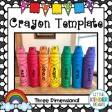 Back to School Three Dimensional Crayon Template