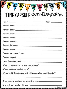 Back to School Time Capsule Questionnaire