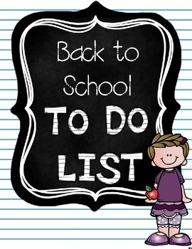 Back to School To Do List