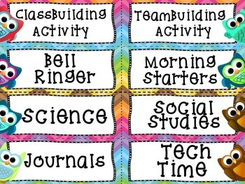 Back to School Editable Class Schedule Cards: Colorful Owl Theme