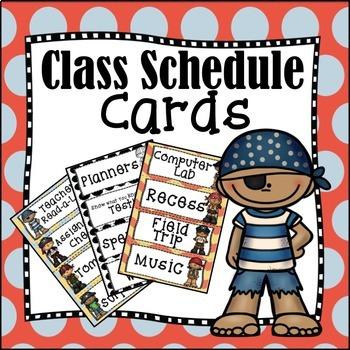 Back to School Editable Class Schedule Cards: Pesky Pirates