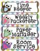 Back to School Editable Classroom Job Task Cards: Cute Owl Theme