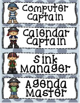 Back to School Editable Classroom Job Task Cards Pesky Pirate Theme