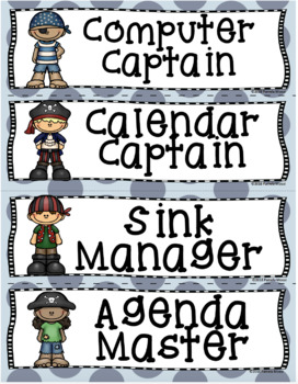 Back to School Editable Classroom Job Task Cards Pesky Pirate Theme - Updated!