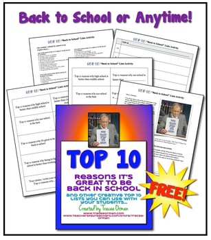 Free Beginning of Year {or ANYTIME} Top 10 Lists Activity Icebreaker Bellringer