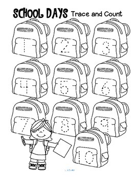 Back to School Trace and Count FREE