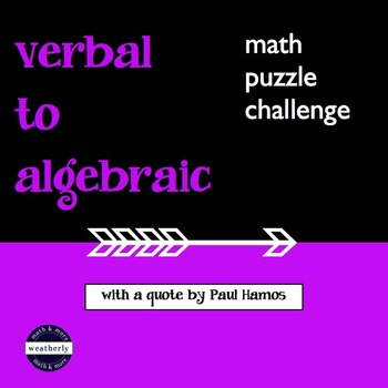 Expressions - Translating Verbal to Algebraic