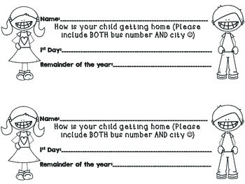 Back to School Transportation Form