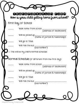 Back to School Transportation Forms