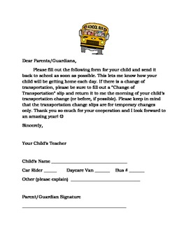 Back to School Forms: Transportation