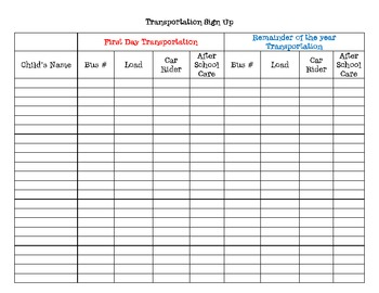 Back to school transportation sign up sheet by the for Back to school sign in sheet template
