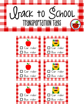 Back to School Transportation Tags