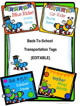 Back-to-School Transportation Tags {EDITABLE} Caterpillar-Themed