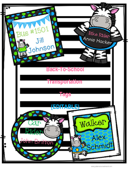 Back-to-School Transportation Tags {EDITABLE} Zebra-themed