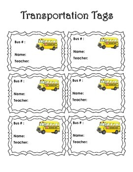 Back to School: Transportation Tags and Graphing Activity