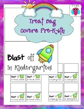 Back to School Treat Bag Blasting Off Covers Pre-K-6th