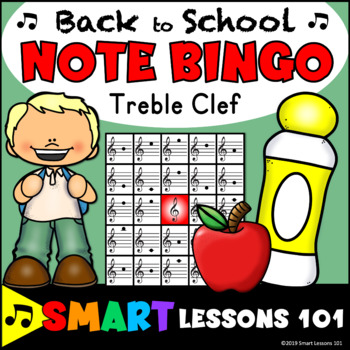 Back to School Treble Clef Bingo Game: Back to School Note Name Bingo Music Game